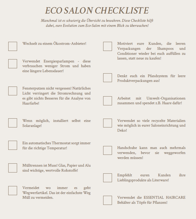 eco-salon checkliste